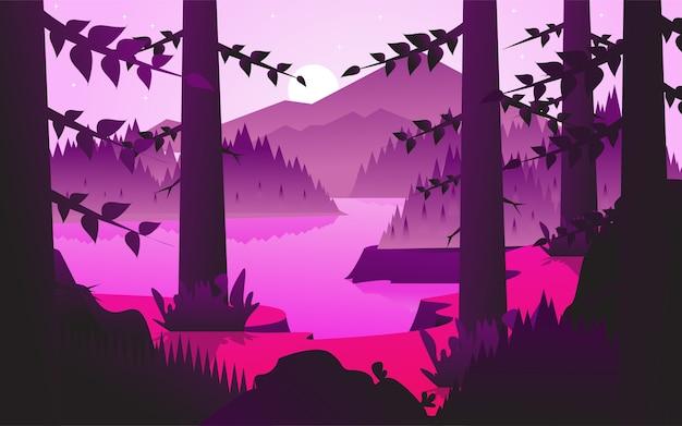 Wektorowa ilustracja: płaski krajobrazowy tło