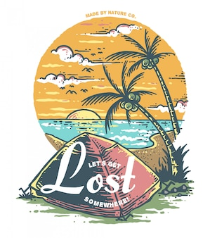 Wektorowa ilustracja plażowy camping z zmierzchu tłem