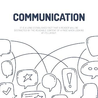 Wektorowa ilustracja ręka remisu dialog mowy bąble