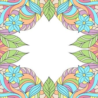 Wektorowa ilustracja ręka rysująca abstrakcjonistyczna kwiecista rama.