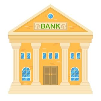 Wektorowa ilustracja retro banka budynek. fasada klasycznego domu w stylu płaskiego. dwupiętrowy budynek miejski z bankiem.