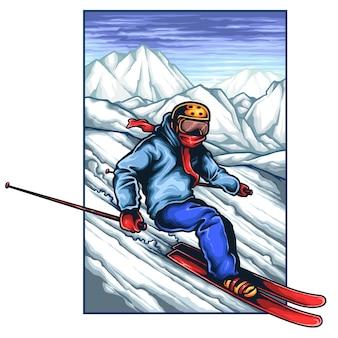 Wektorowa ilustracja robi nartie na lodowej górze osoba