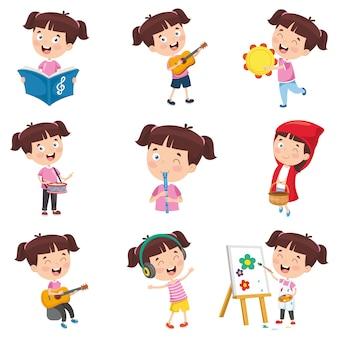 Wektorowa ilustracja robi różnorodnym aktywność kreskówki dziewczyna