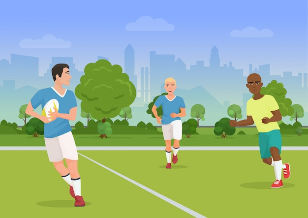 Wektorowa ilustracja rozochoceni czarny i biały ludzie bawić się rugby na boisku.