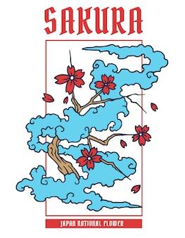 Wektorowa ilustracja sakura japan kwiat