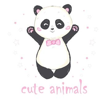Wektorowa ilustracja: śliczna gigantyczna panda siedzi na ziemi, wystaje język, z gałęzią liści bambusa w dłoni