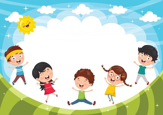Wektorowa ilustracja śmieszni dzieciaki bawić się outside