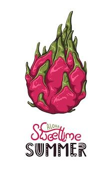 Wektorowa ilustracja smoka owoc. napis: słodki czas aloha.