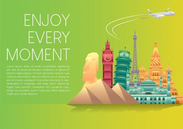 Wektorowa ilustracja światowego dnia turystyki plakatowy sztandar z sławnymi światowymi zabytkami i elementami miejsc turystycznych.