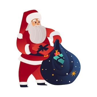 Wektorowa ilustracja święty mikołaj dostaje prezentów pudełka od jego magicznej torby.