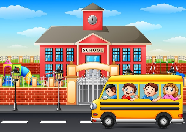 Wektorowa ilustracja szczęśliwi dzieci iść szkoła z autobusem szkolnym