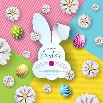Wektorowa ilustracja szczęśliwy wielkanocny wakacje z ładną królik twarzą