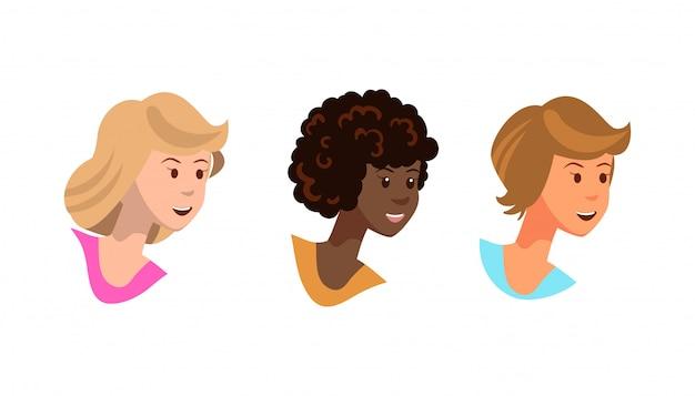 Wektorowa ilustracja ustawia fox młodych dziewczyn ono uśmiecha się.