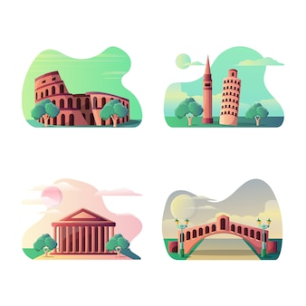 Wektorowa ilustracja włoski turystyczny miejsce przeznaczenia