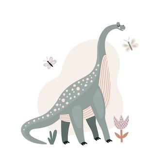 Wektorowa ilustracja wymarłego zwierzęcia duży zielony dinozaur płaski styl