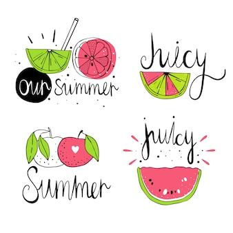 Wektorowa ilustracja z cytrus owoc. skandynawskie motywy. rysowanie ręczne. ładny, kolorowy nadruk