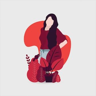 Wektorowa ilustracja z dziewczyną natura