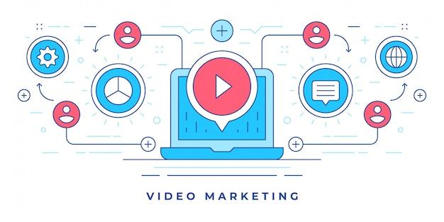 Wektorowa ilustracja z nowożytnym laptopem i ikonami dla wideo marketingu w ogólnospołecznych środkach