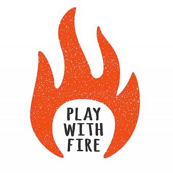 Wektorowa ilustracja z pożarniczymi płomieniami. igrać z ogniem. grafika z nadrukiem na koszulce