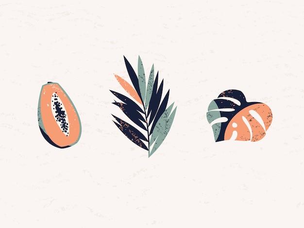 Wektorowa ilustracja z tropikalnymi owoc i liśćmi