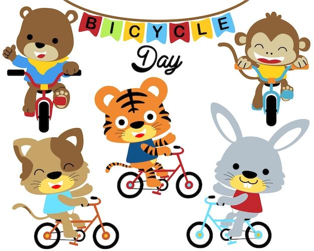 Wektorowa ilustracja z zwierzętami jeździć na rowerze kreskówkę