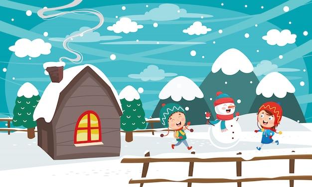 Wektorowa ilustracja zimy scena