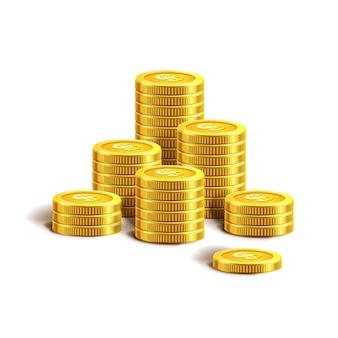 Wektorowa ilustracja złote monety. na białym tle.