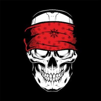 Wektorowa ilustracyjna czaszka jest ubranym bandany