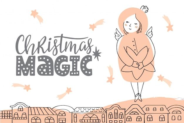 Wektorowa kartka bożonarodzeniowa z literowaniem i aniołem.