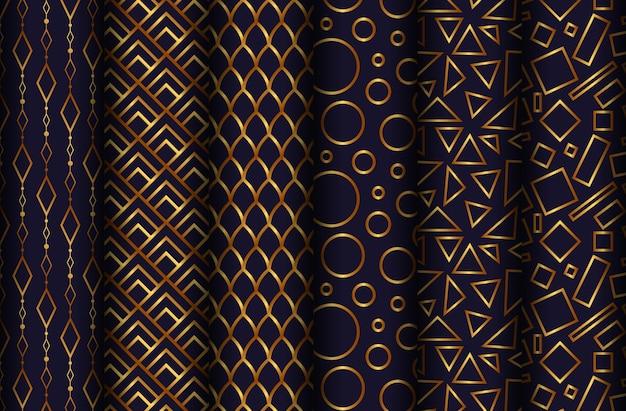 Wektorowa kolekcja bezszwowi złoci wzory