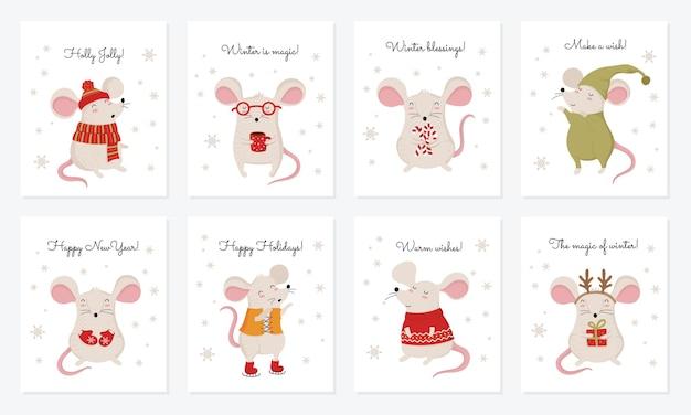 Wektorowa kolekcja kart z ręcznie rysowanymi ładnymi szczurami zimowymi w przytulnych ubraniach