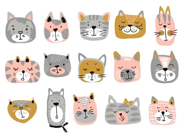 Wektorowa kolekcja kolorowych twarzy kota zabawna ilustracja dla dzieci