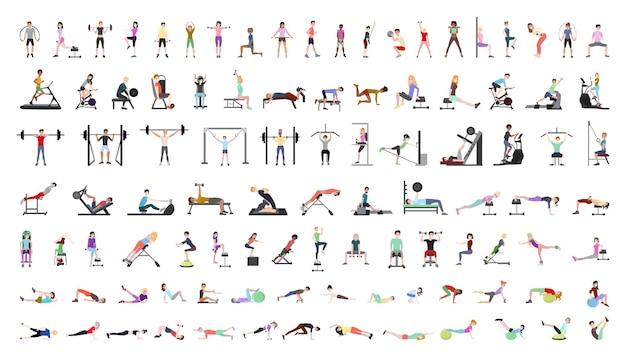 Wektorowa kolekcja ludzi na siłowni