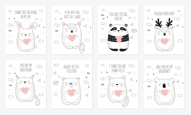 Wektorowa kolekcja pocztówek rysowania linii z uroczymi zwierzętami i sercami doodle ilustracja