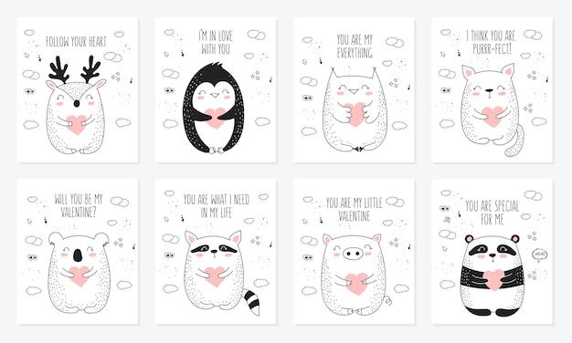 Wektorowa kolekcja pocztówek rysowania linii z uroczymi zwierzętami i sercami