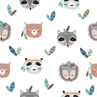 Wektorowa kolekcja pocztówek z twarzami indiańskich zwierząt plemiennych z motywacyjnym hasłem
