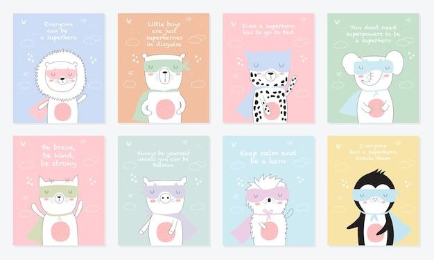 Wektorowa kolekcja pocztówek ze zwierzętami superbohaterów i fajnym hasłem doodle illustration