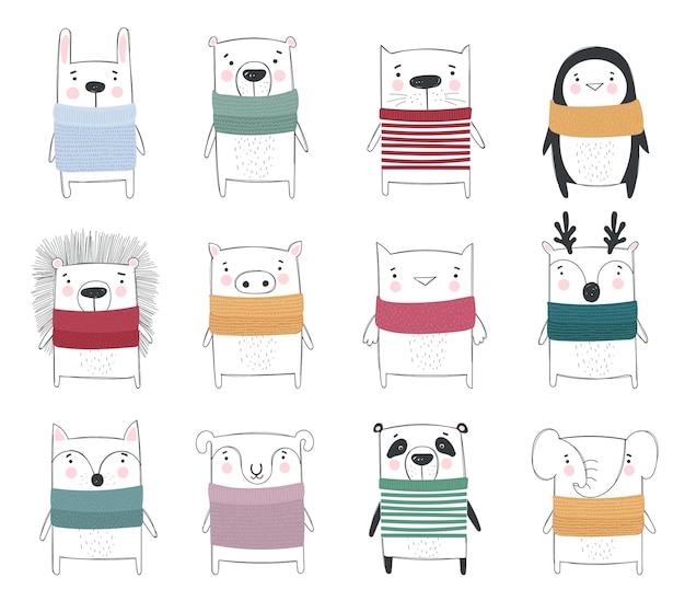 Wektorowa kolekcja rysowania linii ślicznych zimowych zwierząt w przytulnych ubraniach