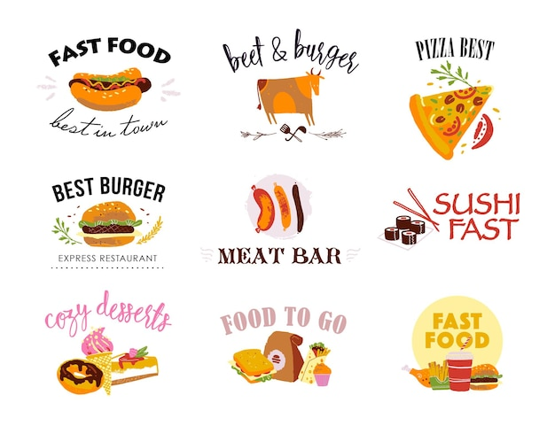 Wektorowa kolekcja szablonów logo fast food na białym tle