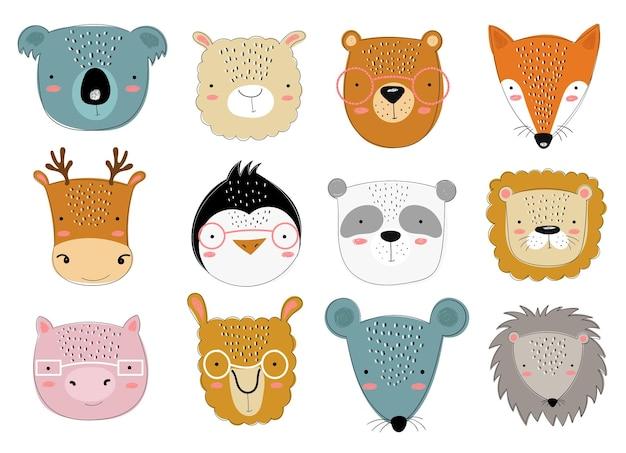 Wektorowa kolekcja uroczych doodle zwierząt dla dzieci ręcznie rysowane graficzne zoo