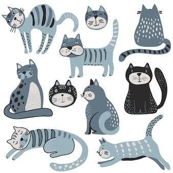 Wektorowa kolekcja uroczych kotów w prostym stylu płaski kreatywny dziecięcy zestaw do projektowania dla dzieci