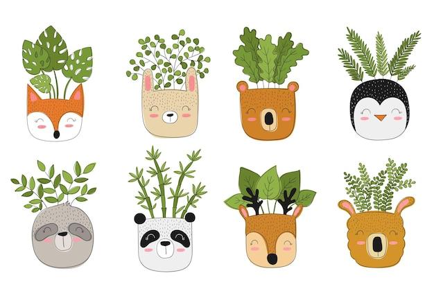 Wektorowa kolekcja uroczych roślin domowych w zabawnych doniczkach zwierząt