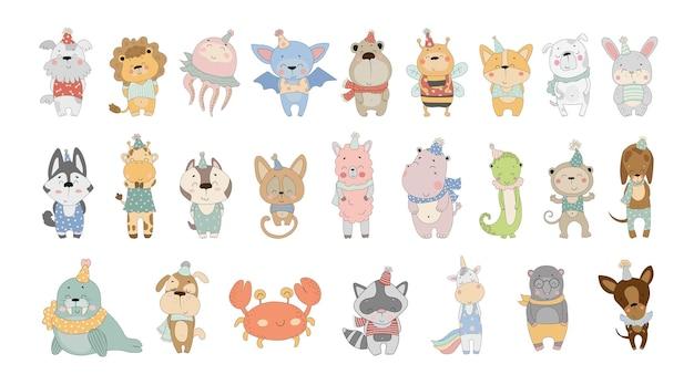 Wektorowa kolekcja uroczych zwierzątek z kreskówek