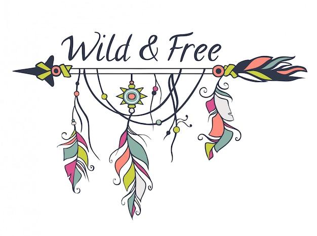 Wektorowa kolorowa ilustracja z etnicznymi strzała, piórkami i plemiennymi elementami. styl boho i hippie. motywy indian amerykańskich