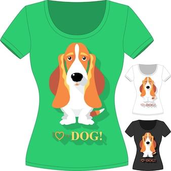 Wektorowa koszulka z psem basset hound