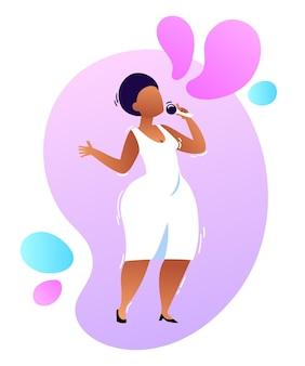 Wektorowa kreskówka neonowa ilustracja żeńskiej afrykańskiej piosenkarki jazzowej soul z mikrofonem w białej sukni