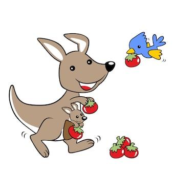 Wektorowa kreskówka owoc żniwo z ślicznymi zwierzętami