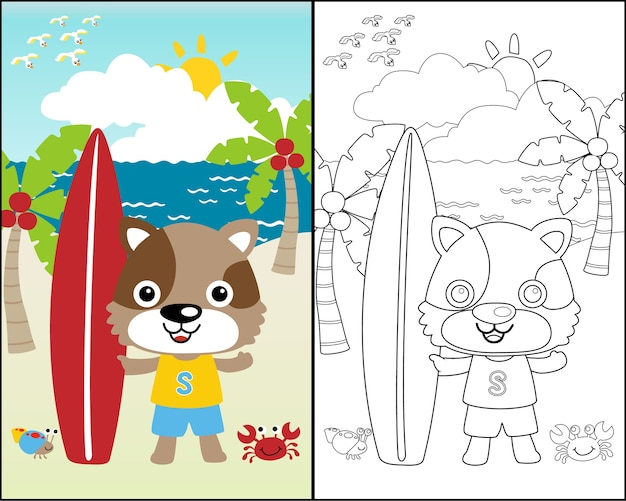 Wektorowa kreskówka śmieszny surfingowiec na plażowym tle
