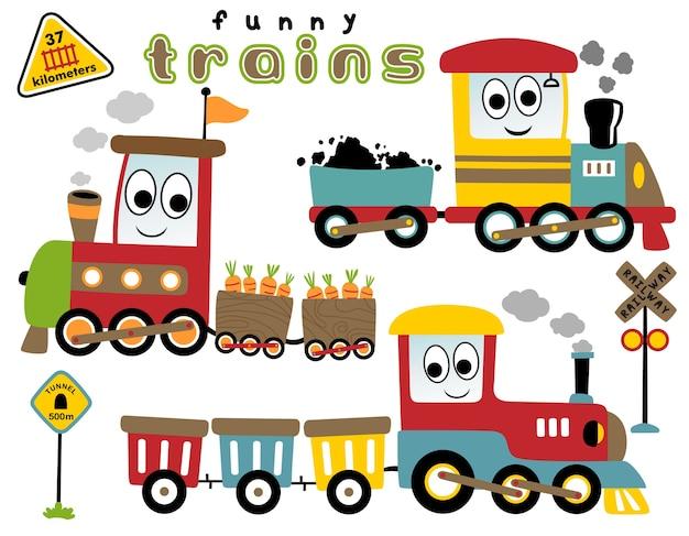 Wektorowa kreskówka ustawiająca śmieszni pociągi