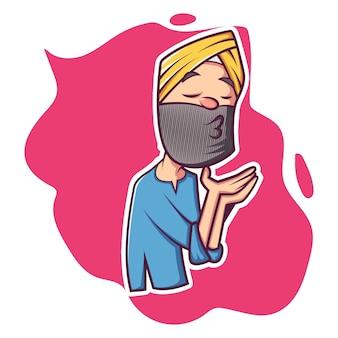 Wektorowa kreskówki ilustracja mieszkana pendżabu mężczyzna.